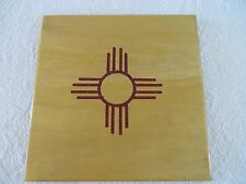 ZIA SUN SYMBOL CORAL INLAY DECORATIVE WOOD DESIGN ART ARTIST SIGNED