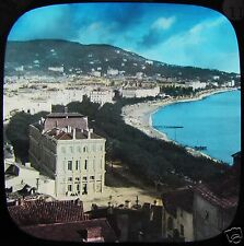 HAND COLOURED Glass Magic Lantern Slide CANNES FROM MOUNT CHEVALIER C1890 FRANCE