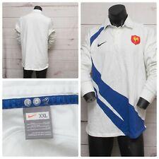 Nike FRANCE FFR Men's White & Blue Rugby Federation Polo Shirt Size XXL HTF