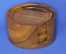 More details for vintage wooden turned treen 6 coasters & holder   [22789]