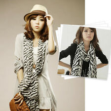 Wholesale Stripe Women Chiffon  Black White Chiffon Zebra Heart Scarf Shawl Wrap