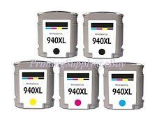 5PK Hi-Yield 2BK C/M/Y Ink For HP 940XL OfficeJet Pro 8000 Pro 8500 8500A Series