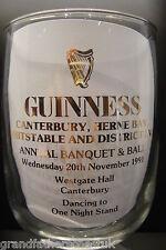 GUINNESS ADVERTISING GLASS GENUINE GOBLET CANTERBURY HERNE BAY WHITSTABLE LVA 91