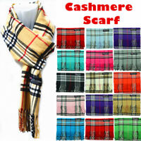 Women Men Winter Warm 100% Cashmere Wool Wrap Scarf Scotland Made Plaid Scarves