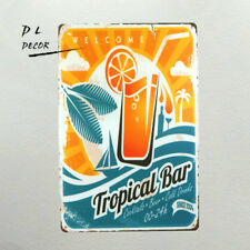 DL-Welcome to Tropical Bar Retro metal Aluminium Sign Cocktail Man Cave pub club
