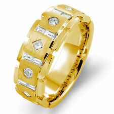 1.00 Ct Round Baguette Diamond Men's Wedding Ring 14k Gold Yellow Band G 8.60 mm