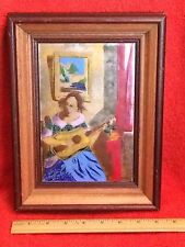 Framed Enamel on Tin after The Guitar Player by Vermeer Hand Made Israel