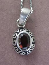 """SIGNED IB 925 STERLING & .9 CARAT RED TOURMALINE PENDANT & 18"""" CHAIN NECKLACE"""