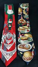 Tabasco Men's 100% Silk Ties Tabasco Bottles,  Food and Bloody Mary- Lot of 3