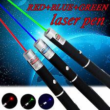 3Color Green+Red+Blue Purple Laser Pen 990Miles 1mW Light Teaching Lazer Pet Toy