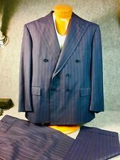 * Polo Ralph Lauren *  Double Breasted Pinstrip Heavy Wool Blue Suit 43R USA