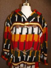 Vtg Bold Ethnic Hooded Wool Blanket Jacket Coat Oversized Sz S Faux Horn Buttons