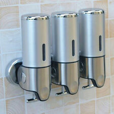 Bathroom Shower Soap Shampoo GEL Dispenser Pump Wall Mounted 3 Bottles 1500ml Silver