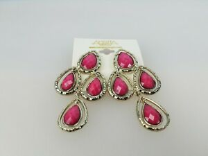 Amrita Singh Nello Fuschia Resin Chandelier Large Celebrity Earring ERC 194 NWT