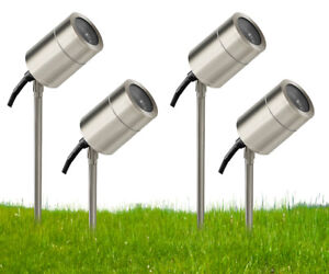 4 x Stainless Steel Garden Ground Spike light Adjustable Outdoor Spike 240V