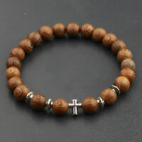 Fashion Cross Beaded Wooden Beads Rosary Adjustable Black Men Charm Bracelets