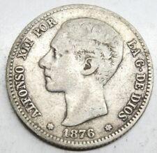 ESPAÑA ALFONSO XII 1876 *1?-76 DEM 1 PESETA MONEDA PLATA MBC