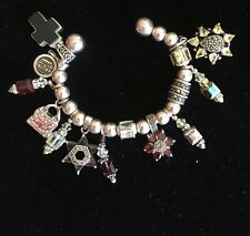 "Sterling Silver ""On The Ball"" Cuff Bracelet with Swarovski Charms 7.5 Length"