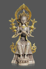 Collection Tibet Silver Copper Gilt White Tara Buddha Buddhism Statue006