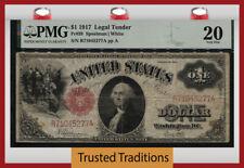 TT FR 39 1917 $1 LEGAL TENDER WASHINGTON RED SEAL SAWHORSE REVERSE PMG 20 VF
