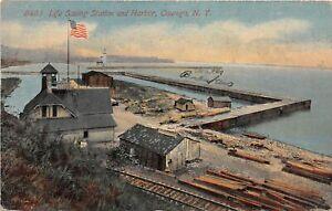 H71/ Oswego New York Postcard c1910 Life Saving Station Harbor 210