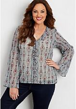 Maurices~New With Tags~Perfect Blouse with Flare Sleeves & Lace-up Front~ 3-3X