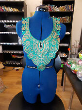 Verde azulado Cristal Collar De Encaje Con Lentejuelas Adorno Marroquí Árabe yugo en el pecho con apliques asiáticos