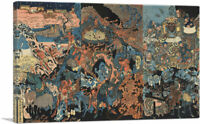 Ghosts, Devils and the King of Hell Canvas Art Print by Utagawa Kuniyoshi