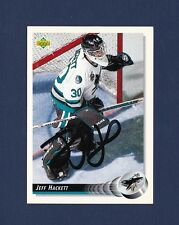 Jeff Hackett signed San Jose Sharks 1992-93 Upper Deck hockey card