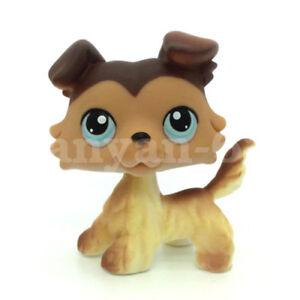Littlest pet shop #58 Brown Collie Dog Puppy Blue Eyes  Toys