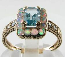 SUBLIME 9K 9CT GOLD BLUE TOPAZ & OPAL ART DECO INS RING FREE SIZE