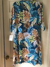 LARGE LuLaRoe SHIRLEY blue coral aqua orange kimono wrap hawaiian tropical NWT