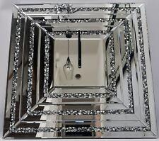Carré Horloge Murale Scintillant Ecrasement de Diamant Cristal Argent Copié 3D