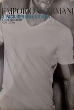Emporio Armani 3 Pack 100% Genuine Cotton V Neck T-Shirt - Size L - Black - NEW