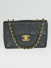 Chanel Vintage Black Quilted Lambskin Leather Classic Maxi Jumbo XL Flap Bag