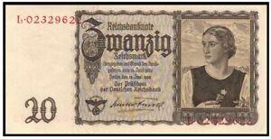 QUEEN OF NAZI BILLS! 1939 20 MARKS w ARYAN GIRL/FLOWER SYMBOL OF PURTIY