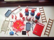 Vintage 1970s Marx Juguetes playpeople Playmobil figuras bomberos Super Set Paquete