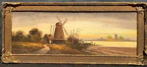 Antique Pastel Painting of Landscape with Windmill by William Henry Chandler