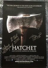 Hatchet 18x12 Canvas Signed Robert Englund Tony Todd Kane Hodder AFTAL