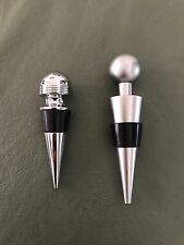 New listing Two (2) Stainless Steel Bottle Screw-Ball Stoppers with Rubber