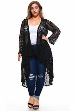 Ivory Long LACE Cardigan Hi Lo Draping Womens Plus Size Brown