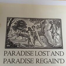 1930s Woodcut Print Paradise Lost, Garden of Eden, Angel, Religion, Adam & Eve