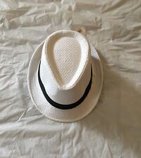 20s Mens Gangster White  Fedora Hat With Black Band Triby Gangster Fancy Dress