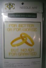 """Cross Stitch and Embroidery Stamped Kit 11"""" x 11"""" DMC Floss Wedding Rings NEW"""