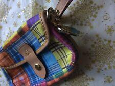 DOONEY & BOURKE MADRAS ANT PLAID WRISTLET CLUTCH BAG CELLPHONE