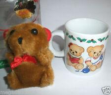 Hübsche Weihnachtstasse Teddy - Porzellan/Keramik + Stoff Teddy Set *NEU & OVP*