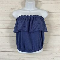 Mason + Mackenzie Crochet Ruffled Tube Top Size Medium Blue Strapless