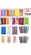 33 Pack Slime Supplies ,Fishbowl Beads,Foam Balls,Glitter Shake Jars,Fruit Fimo