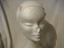 Stretch  head band/ bandeau  in white with pink dancer