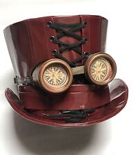 Steampunk Ox Blood Pvc Top Hat Size 59cm With Goggles